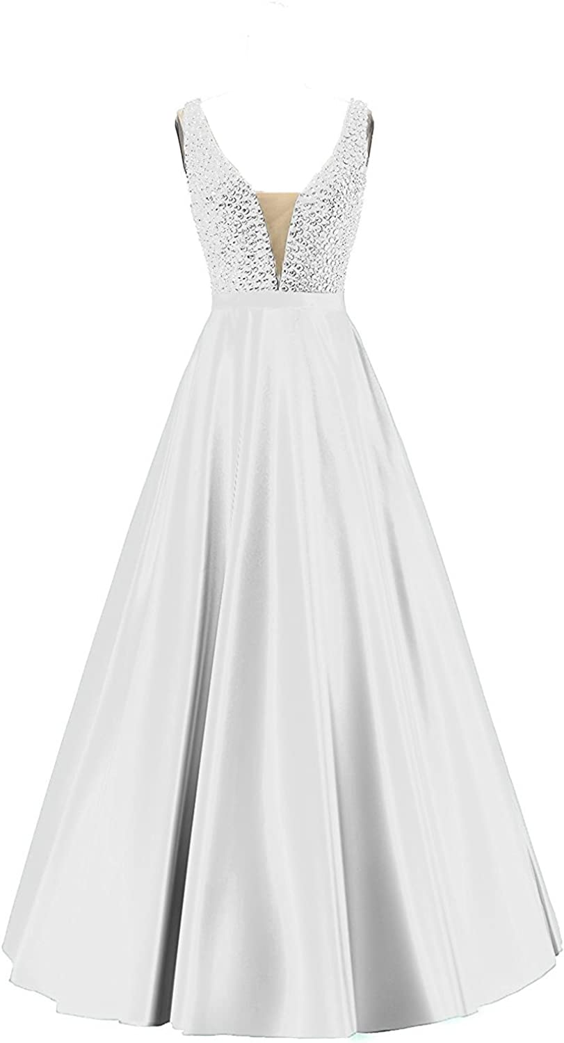 Beilite V Neck A Line Long Evening Dress Beaded Party Gown
