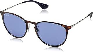 RAY-BAN RB3539 Erika Round Metal Sunglasses, Havana/Dark Violet, 54 mm