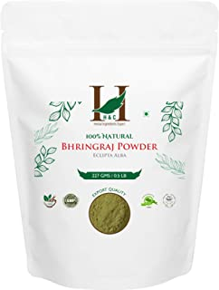 H&C- 100% Natural Bhringraj Powder for Hair (227g / 0.5 LB/ 08 oz) - Hair Growth Rejuvenator from Indian Ayurveda