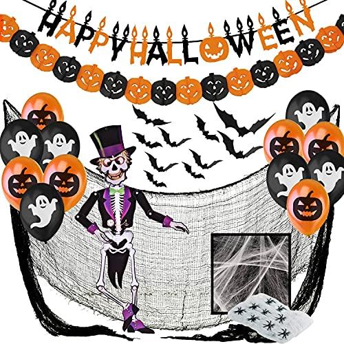 Decoracion Halloween Casa XXL, Decoraciónes Fiesta de Miedo - Banderas Banderinas, Murciélagos, Guirnalda Calabaza, Globos, Tela De Araña, Paño Negro Espeluznante y Esqueleto Articulado