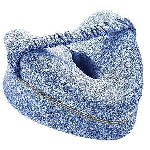 MEEQIAO Kniekissen für Seitenschläfer, mit Gummiband, Ergonomisches Memory Foam Beinkissen, Sorgt für Druckentlastung - Hüfte, Bein, Knie, Rücken und Schwangerschaft (Blau)