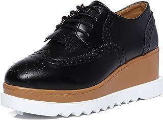 DADAWEN Women's Fashion Tassels Square-Toe Lace-up Platform Wedge Oxford Shoes