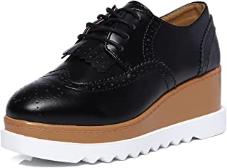 Women's Fashion Tassels Square-Toe Lace-up Platform Wedge Oxford Shoes