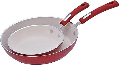 "Aramco HAF602 Hamilton Beach Fry Pan Set, 8.5"" & 11"", Red Speckled"