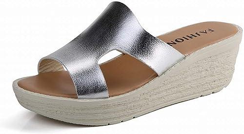Oudan Sandalias clásicas para Todo Partido Hauszapatos cómodas y Transpirables Gradiente de Diseño con Sandalias para mujer (Color   plata, tamaño   37)