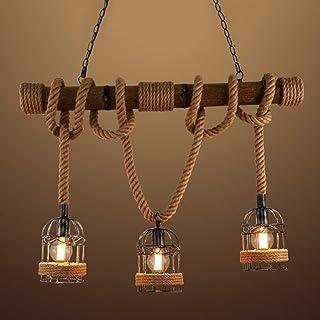 Decken Hänge Lampe Retro Vintage Stahl Natur-Holz braun Pendel Leuchte 44cm Rund