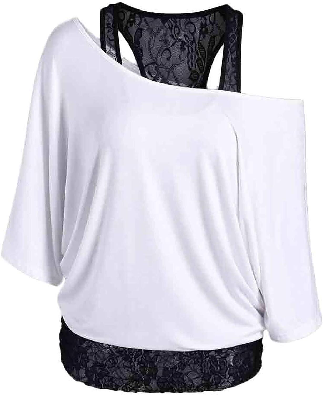 Women Plus Size Tops Summer Plain Shirt Lace Vest Two Piece T-Shirt Casual Loose Long Sleeve Slouchy Blouse