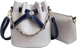 Kwok Women Leather Solid Color Crossbody Bag Shoulder Bag Bucket Bag+Clutch Bag Messenger Bag Leisure Bag Travel Bag Earphone Bag