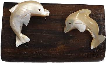 イルカ 夜光貝 置物 台は紫檀