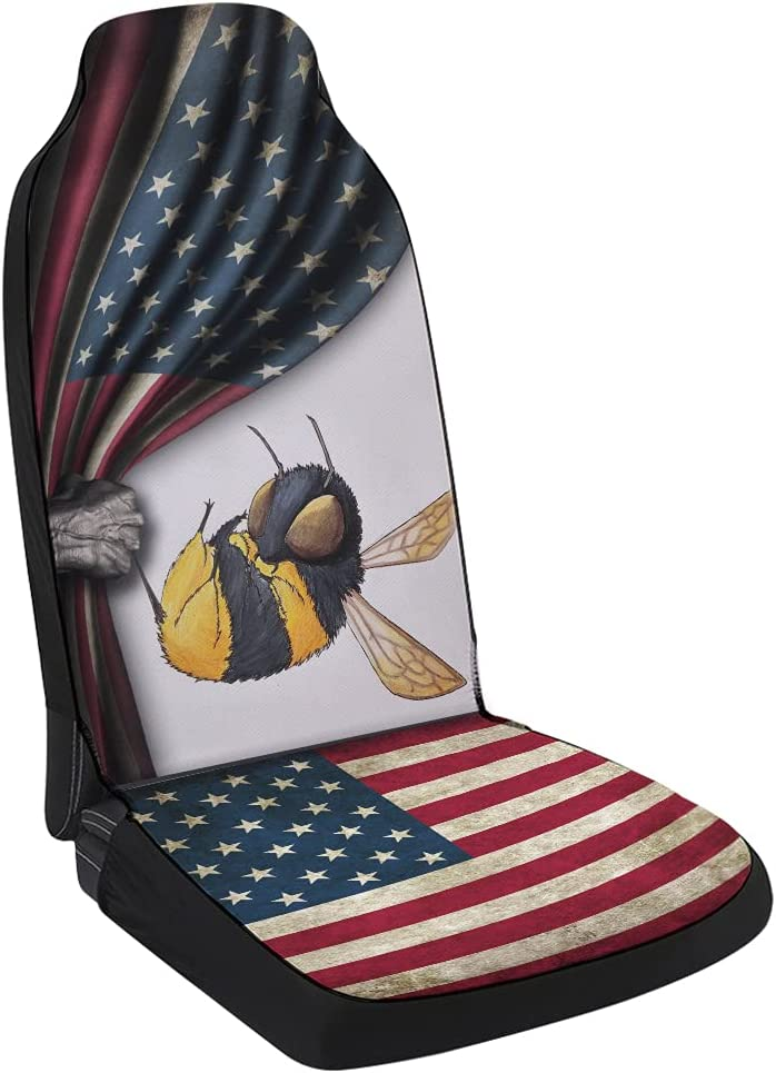Clearance SALE! Limited time! Bee Vintage American Flag Super sale Car Seat Co Universal Front Cover