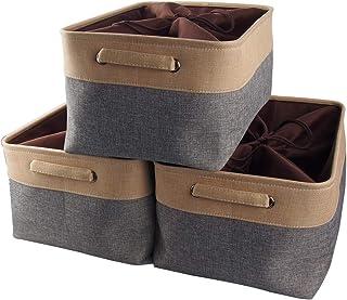 Mangata Extra Large Panier de Rangement Lot de 3, boites de Rangement en Tissu avec Poignée pour Étagères, Placard, Jouets...