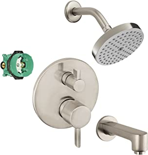 Hansgrohe KST04447-27486-13BN-2 Raindance Shower Faucet Kit with Tub Spout, PBV Trim with Diverter & Rough, Brushed Nickel