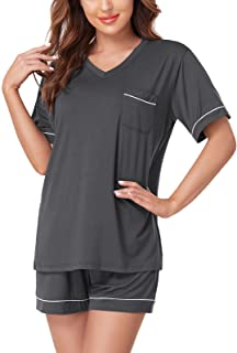 Sponsored Ad - CULAYII Women's Pajamas Set,Short Sleeve Soft Pj V Neck Nightwear Loose Comfy Pajamas for Women Shorts Set
