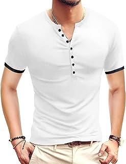 Mens Casual Slim Fit Basic Henley Short Sleeve Fashion...