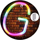 Light Up Letters Neon Signs, Color Marquee Letter Lights Wall Decor for Christmas, Birthday Party, Bar Valentine's Day Words-It Comes with 2 Sticky Hooks - Color Letter (G)