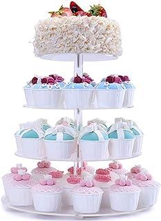 FOBUY - Soporte para cupcakes (acrílico, 5 niveles, redondo), acrílico, 4 niveles