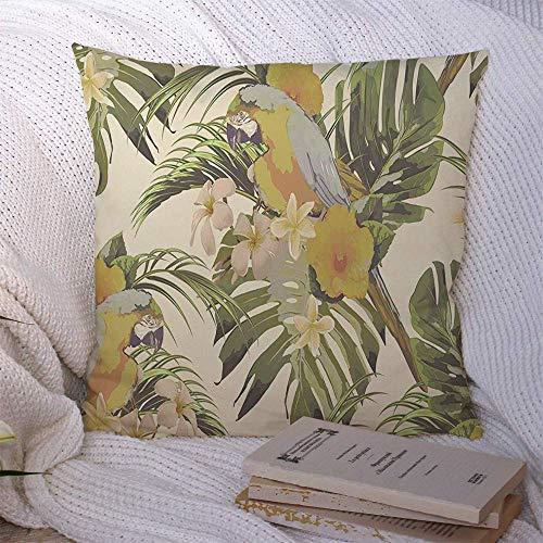 Fundas de almohada Popular Retro Beige en hermosa decoración floral sin costuras de moda Patrón hawaiano Fundas de almohada de naturaleza Funda de cojín 45 X 45CM