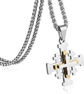 COTTVOTT Stainless Steel Jerusalem Crusaders Cross Pendant Necklaces Women Men Medieval Jewelry