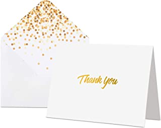 100 Thank You Cards with Envelopes - Thank You Notes, White & Gold Foil - Blank Cards with Envelopes - For Business, Weddi...
