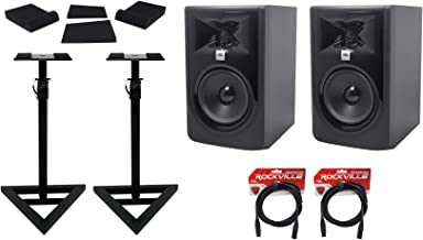"""(2) JBL 305P MkII 5"""" Powered Studio Reference Monitors+Stands+Pads+XLR Cables"""