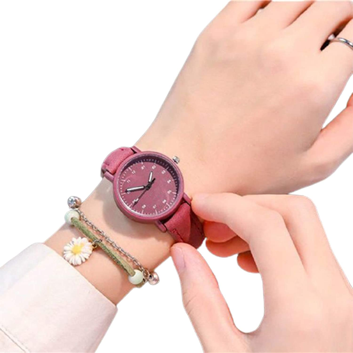 Fashion Minimalist Quartz Watch With Easy-to-use PU Round Dial Strap Leather Direct sale of manufacturer