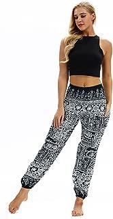 AMOMA Women's Harem Pants with Pockets Indie Folk Hippy Aladdin Boho Style Casual Bloomers