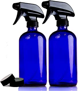 Empty Blue Glass Spray Bottles | 2 Pack 16 Oz Refillable Sprayer for Essential Oil | Water, Kitchen, Bath, Beauty, Hair, C...