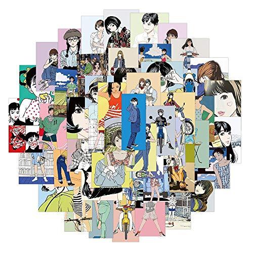 LVLUO Vintage Anime Girl Pegatina estética ilustración Impermeable monopatín Maleta portátil Graffiti Pegatina de Juguete 50 Uds