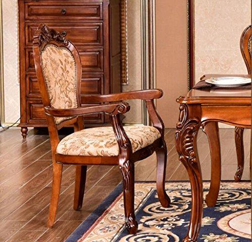 Tabouret en bois Chaises de côté américain solide bois sculpté à manger chaises chaises en tissu européen rétro dinette hôtel fauteuil fauteuils (Couleur : #2)