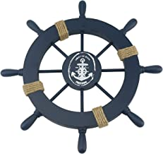 Ogrmar Mediterranean Nautical Wooden Boat Ship Steering Wheel/Handcrafted Wooden Ship Wheel Pirate Decor Wall and Door Hanging Ornament Plaque (Navy Blue)