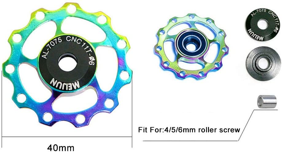 Cdofo 11//13T Bike Bicycle Derailleur Pulley Aluminum Alloy Rear Derailleur Pulley Jockey Wheel for Mountain Bike Bicycle Replacement Parts