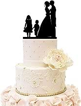 Wedding Anniversary Family Cake Topper Bride Groom couple with 2 kids (Girl & Boy (Black))