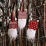 3 piezas Gnomos Navidad rojo Santa Claus Pedant, punto árbol de Navidad colgante suéter feo 15.2 cm de alto Rudolph mullido felpa sueca Tomte, elfo