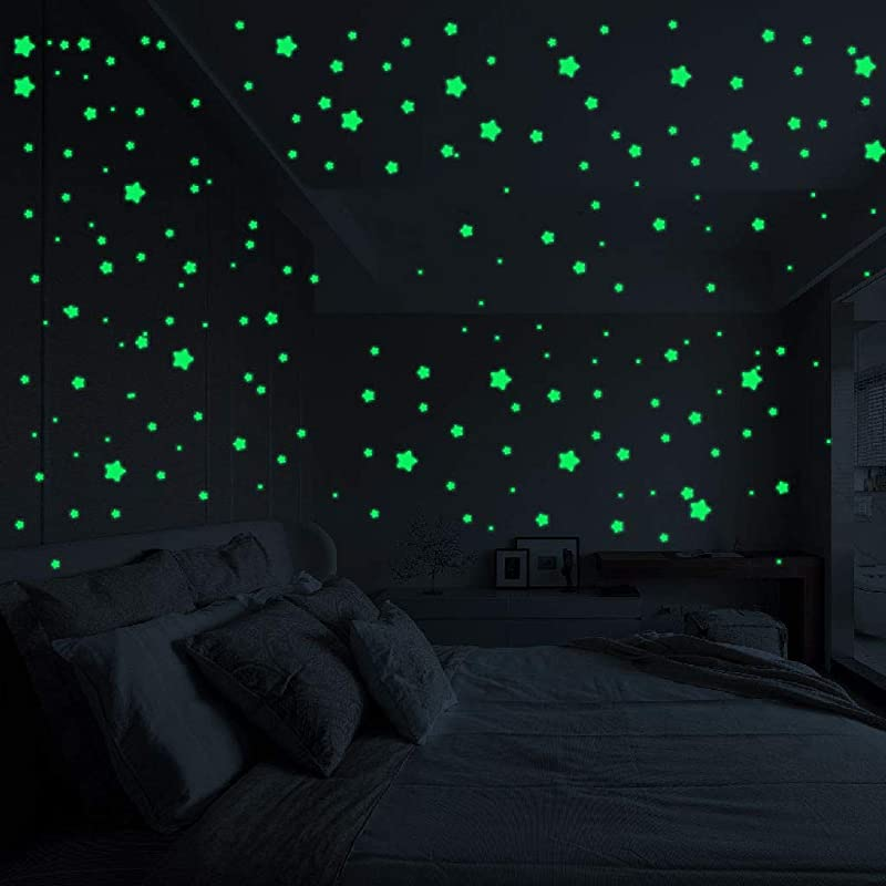 3D Glow In The Dark Stars Ceiling Or Wall Stickers Fesfesfes Luminous Fluorescent Dots And Moon For Starry Sky Galaxy Glow Star Set For Kids Bedroom Or Birthday Gift Beautiful Wall Decal Room Decors