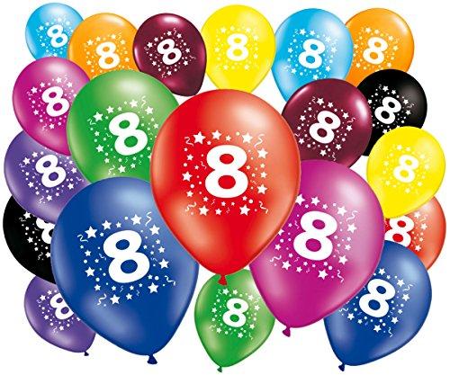 FABSUD Ballons Anniversaire 8 Ans - 30 cm - Lot de 20 Ballons 8 Ans