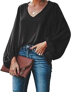 Style Dome Camisetas Mujer Manga Larga Blusa Casual Mujer Tops T-Shirt Cuello V Camisa Color Sólido Jumper Negro 2XL