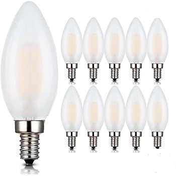 Frosted Cover Viribright 74555-12 25 Watt Equivalent 12 Pack Warm White 2700K B10 Candelabra LED Light Bulb E12 Base