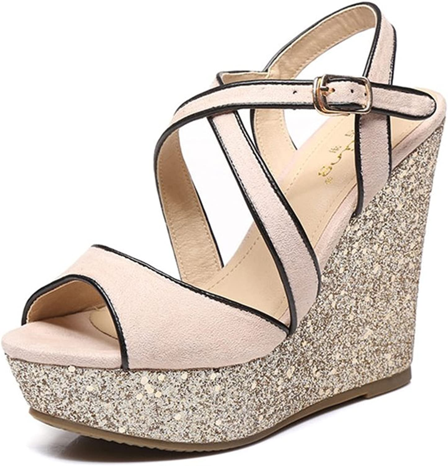 Summer New sandals Female Slope with Waterproof Platform high Heels Sequin Fashion Roman Style Small Size Female shoes (high 9cm and high 12cm) (color   12cm high, Size   39)