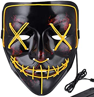 Halloween Mask LED Light Up Purge Mask Frightening Creepy Flash Masks for Adults for Festival Cosplay Halloween Costume