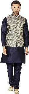 UnM Mens Kurta Churidar Pyjama with Ethnic Nehru Jacket/Modi Cut