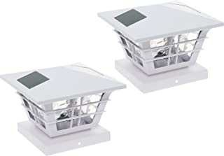 GreenLighting 5x5 Solar Post Cap Lights with 4 x 4 Base Adapter (White, 2 Pack)