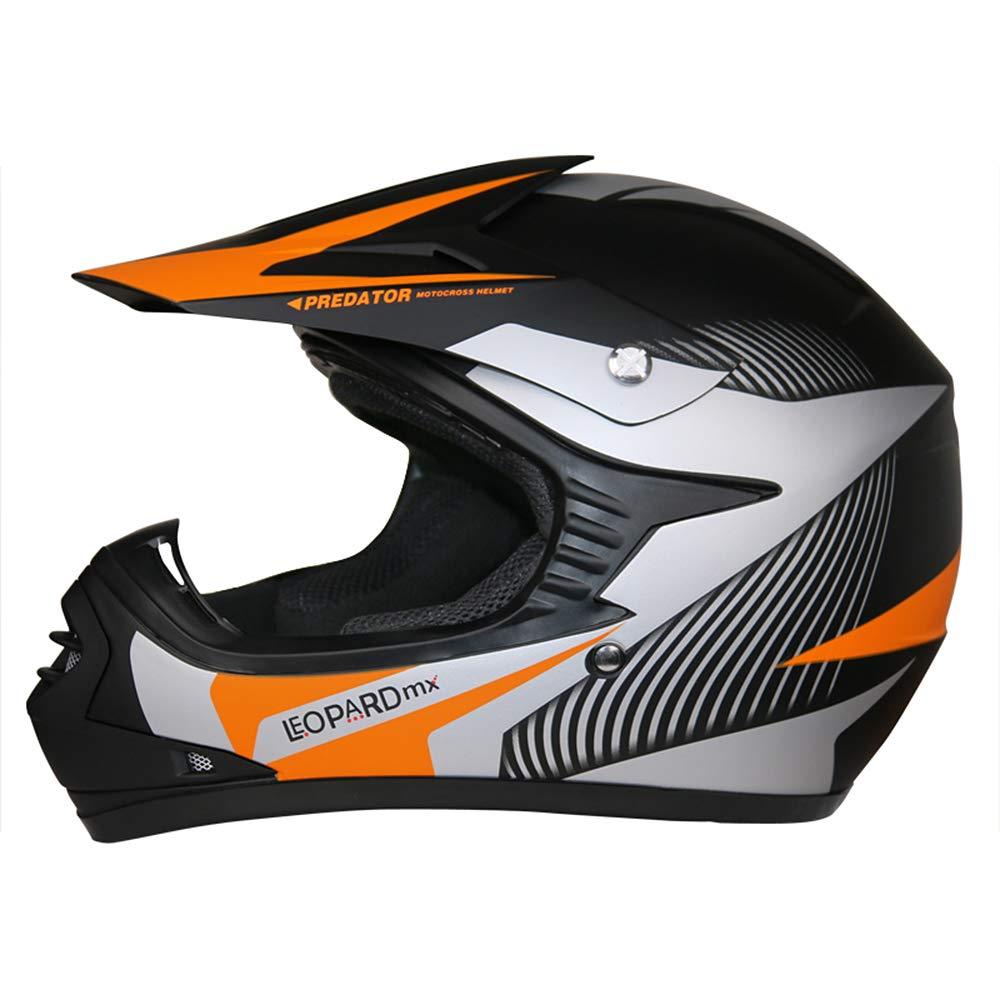 Leopard LEO-X19 Rojo Casco de Motocross para Ni/ños S L 7cm + Gafas Guantes + Camo Traje de Motocross para Ni/ños L 53-54cm 5-6 A/ños