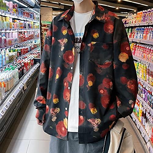 ShFhhwrl Camisa Cómoda Y De Moda Camisa De Cuadros 5XL-M Japan Style Loose Men Casual Shirts Long Sleeve Autumn Winter Fashion Ink Printing