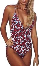 SANGQU Womens One Piece Sexy Print Lace up Deep V Neck Cutout Swimsuit Swimwear