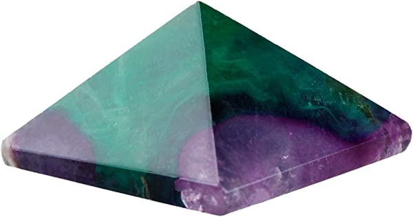 Rockcloud Healing Crystal Flourite Pyramid Metaphysical Stone Figurine