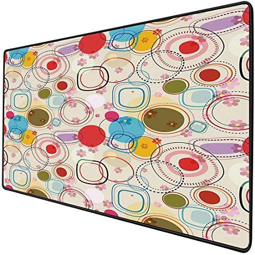 Alfombrilla para ratón para juegos, funcional, floral, gruesa, impermeable, para escritorio, para ratón, con formas abstractas, círculos y cuadrados sobre un fondo de color suave con imagen de flores,