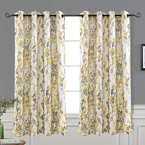 DriftAway Leah Abstract Floral Blossom Ink Painting Room Darkening Thermal Insulated Grommet Unlined Window Curtains 2 Panels Each Size 52 Inch by 63 Inch Yellow Silver Gray