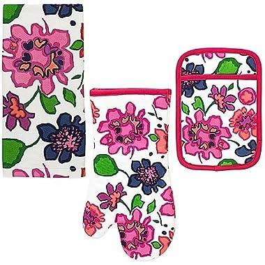 Kate Spade New York 3pc Kitchen Set - Oven Mitt, Pot Holder and Kitchen Towel (Festive Floral)