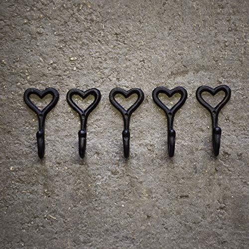 Homezone 5pc Vintage Stil schwarz Gusseisen Wandmontage Loveheart Mantel Haken Zuhause Aufbewahrung Haken Ständer Wand Aufhängung Rustikale Haus oder Garten Dekoration Wand Skulptur