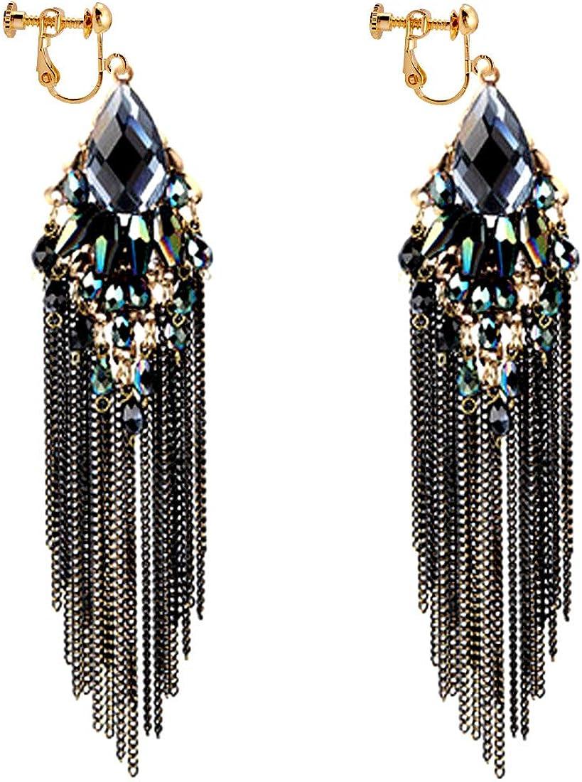 CNCbetter Women Fashion Charms Black Crystal Charms Long Dangle Tassel Screw Back Clip On Earring